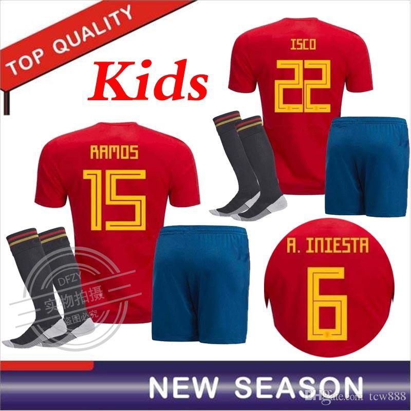 2018 World Cup Spain Soccer Jersey Kids Kit+Socks 2018 Spain Home Red Soccer  Jerseys  7 MORATA  22 ISCO Child Soccer Shirts Uniforms Spain Soccer Jersey  ... 33122f593