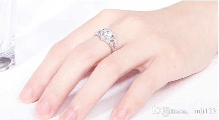 New Arrvial Top quality S925 Silver love heart Ring for women set with big falsh stones bridal wedding gift
