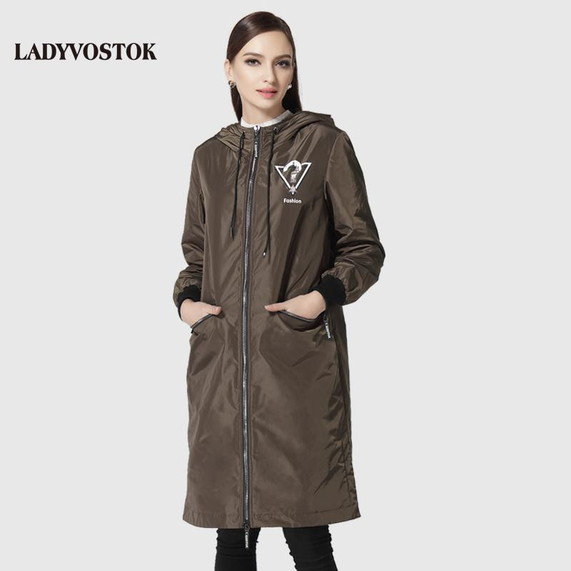 woman's coat casual windbreaker fashion headset woman's leisure long paragraph hat knee 17-092