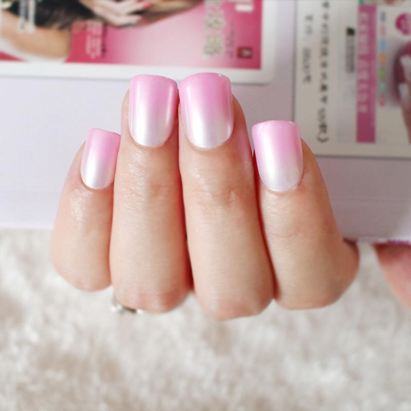 Wholesale New Artificial False Lady Nails Full Tips Gradient Color ...