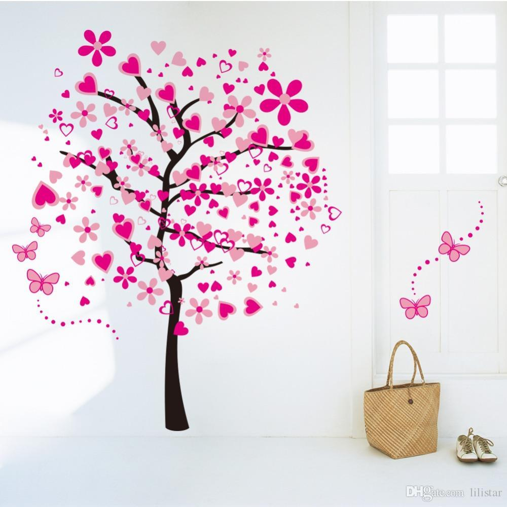 New Foreign Trade Wall Sticker Removable Pink Large Peach Tree Butterfly  Backdrop Living Room Bedroom Wall Sticker Kids Room World Map Wall Sticker  Zebra ... Part 93