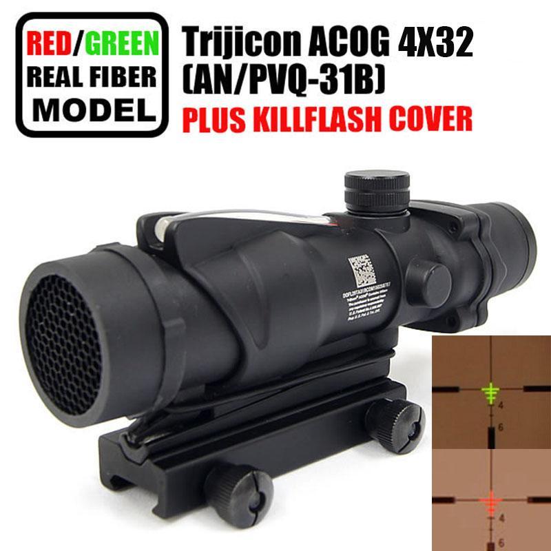 Taktik Trijicon ACOG 4x32 Fiber Optik Kapsam w / Gerçek Kırmızı / Yeşil Fiber Crosshair Riflescopes Öldürmek Flaş ile gel