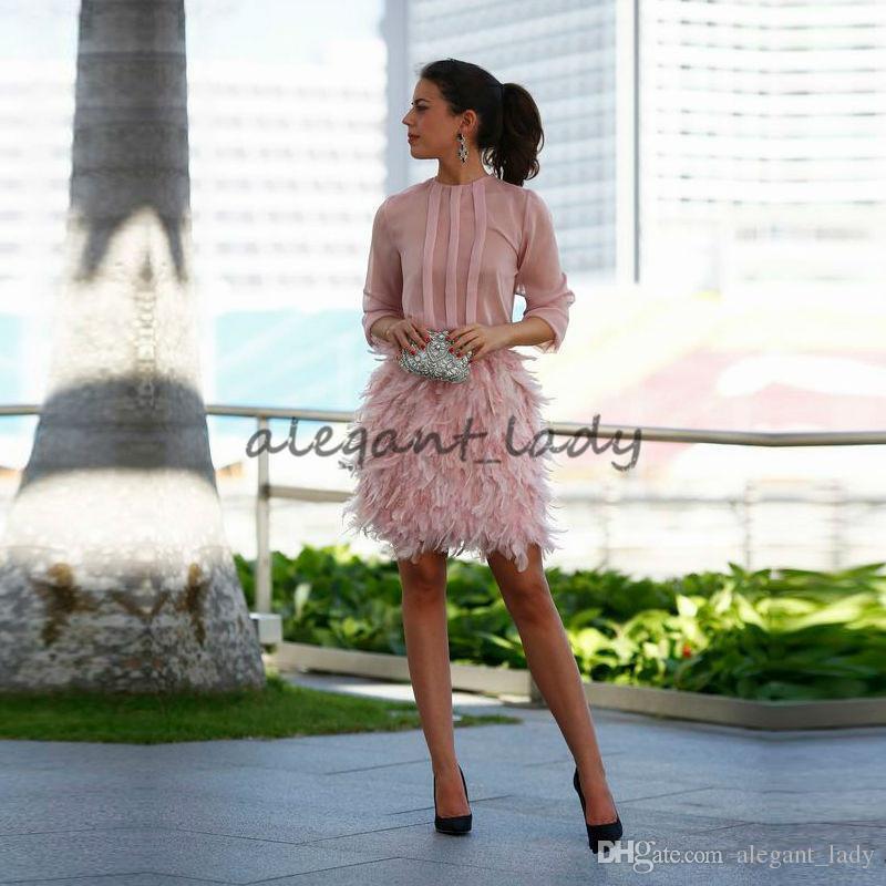 Linda pena curto Prom vestidos rosa mangas compridas abertas com arco noite vestidos de cocktail vestidos de festa para ocasião especial