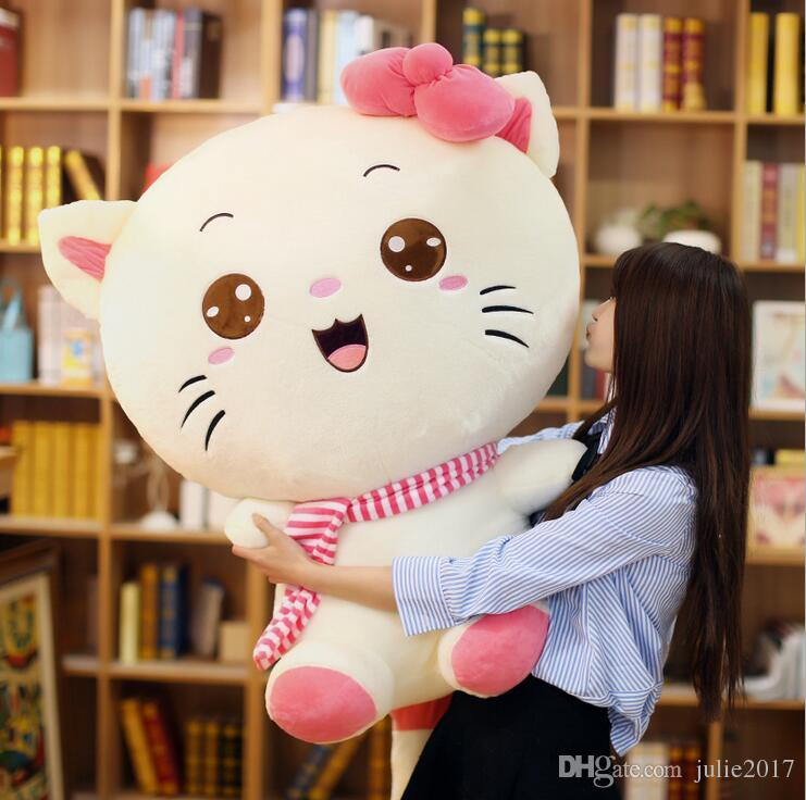 Hot Sale Plush Toy Lovely Cat Pink / Purple Bowknot Cat Stuffed Animal Big Size Cat Valentine's Day Gifts