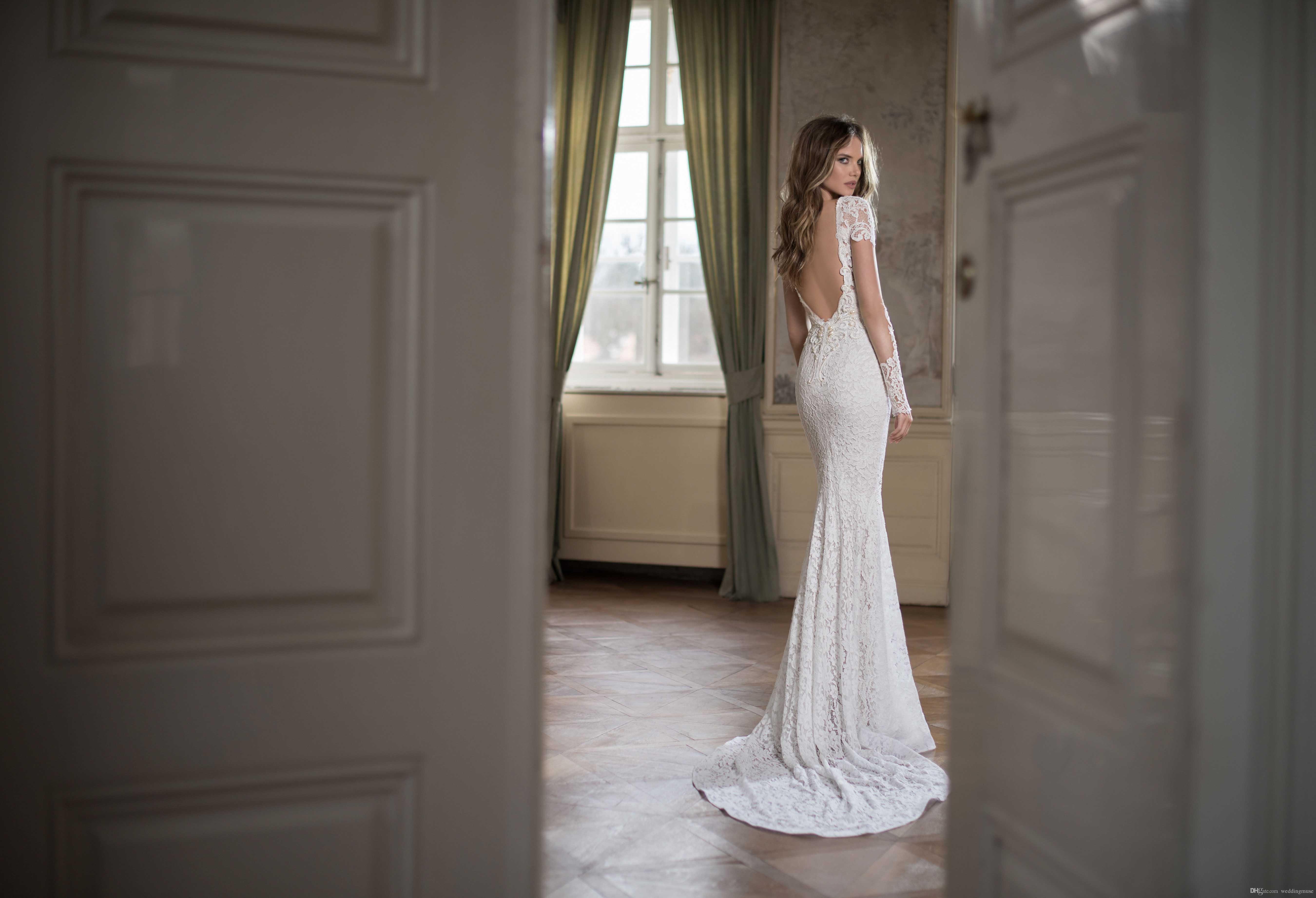 2015 Fall Berta Wedding Dress Sexy Boat Neck Backless Short Sleeve Pearl Beaded Mermaid Lace Wedding Dresses Court Train Custom Made