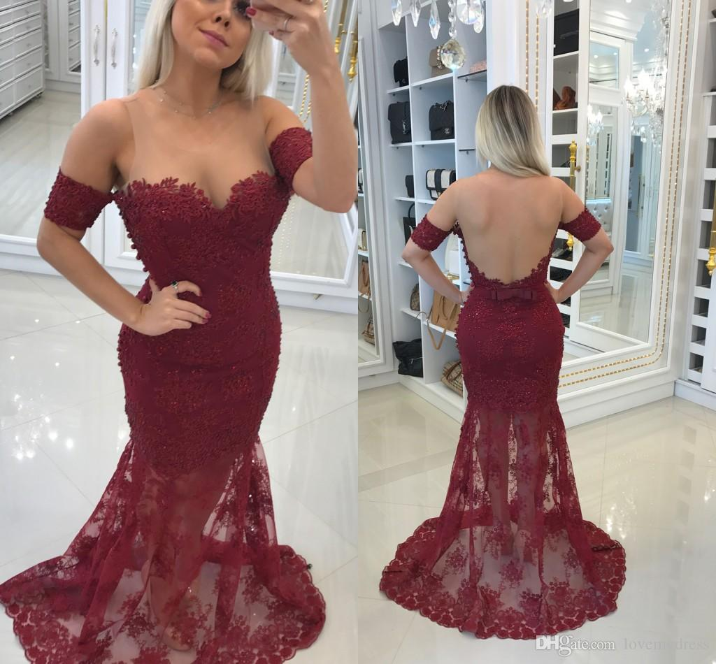 ea7f3128c Wine Red Lace Fashion 2018 Prom Dresses Cheap Mermaid Sheer Neck Cold  Shoulder Hollow Back Designer Applique Evening Formal Dress Gowns Long Lace  Prom Dress ...