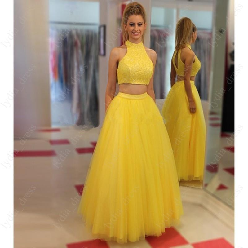 Yellow Two Piece Tulle Long Prom Dresses Sexy Halter Backless Lace Top Formal Evening Dress ...