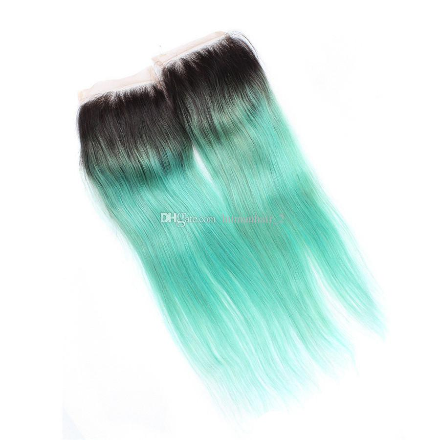 Green Ombre Hair Bundles With Lace Closure Two Tone 1b Green Straight Closure With Bundles Peruvian Virgin Hair Extensions
