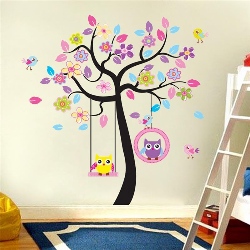 Kids Bedroom Tree kawaii owls wall stickers kids bedroom decorations nursery cartoon