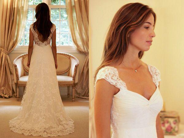 Backless Sexy A-Line Vintage Pizzo Abiti da sposa Cap Sleeve Bianco o Avorio Sexy Abiti da sposa Abiti Plus Size Exquisite Cheap Chic