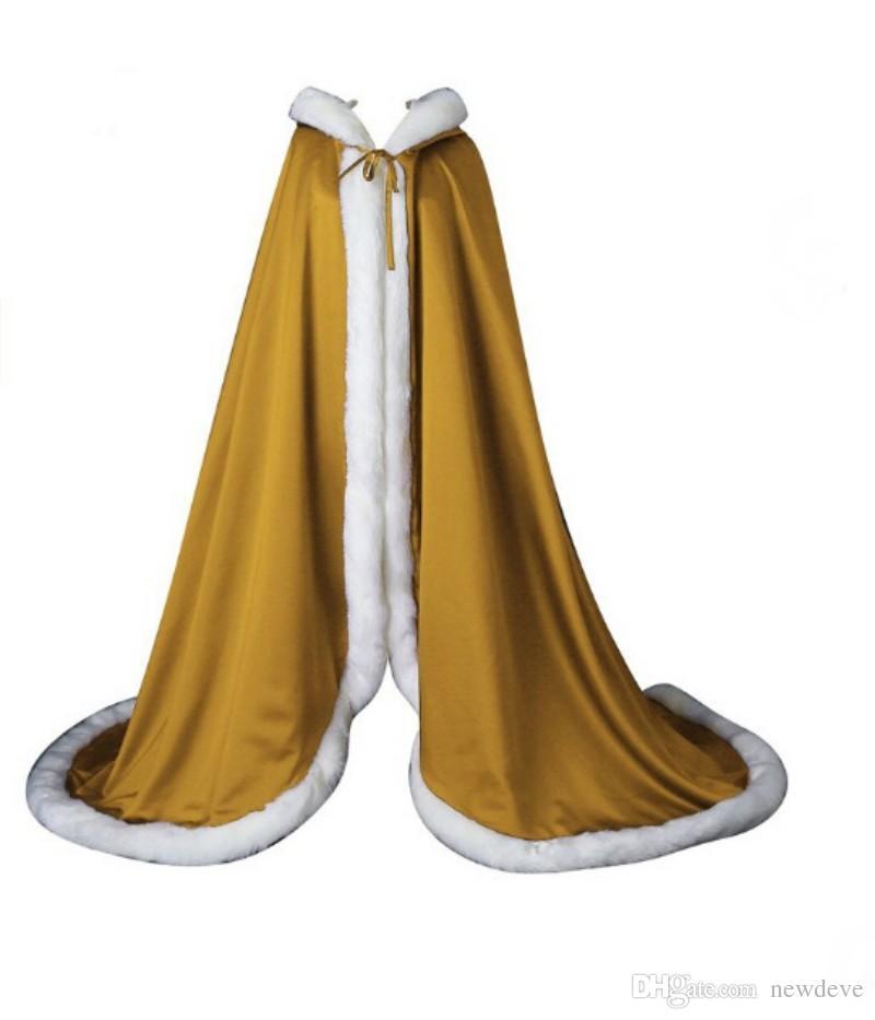 Capas de novia de piel de invierno para cuerpo largo capas de boda con capucha de alta calidad 2019 vestidos por encargo accesorios