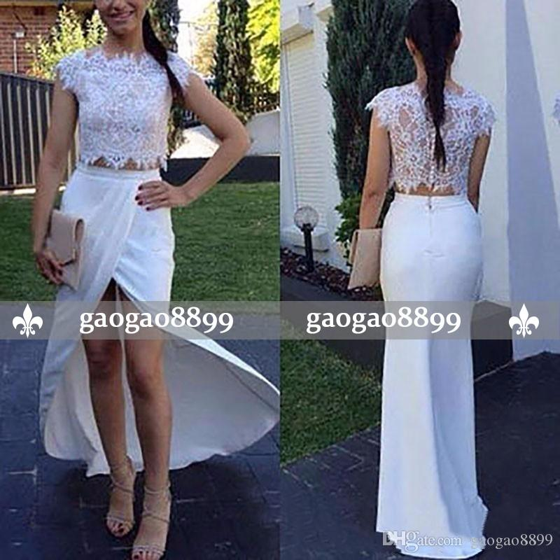 2019 Charming Sheath Two Pieces Prom Dress White Lace Appliques Cap Sleeves Jewel Neck Button Back Cheap Formal Prom Dresses Evening Wear