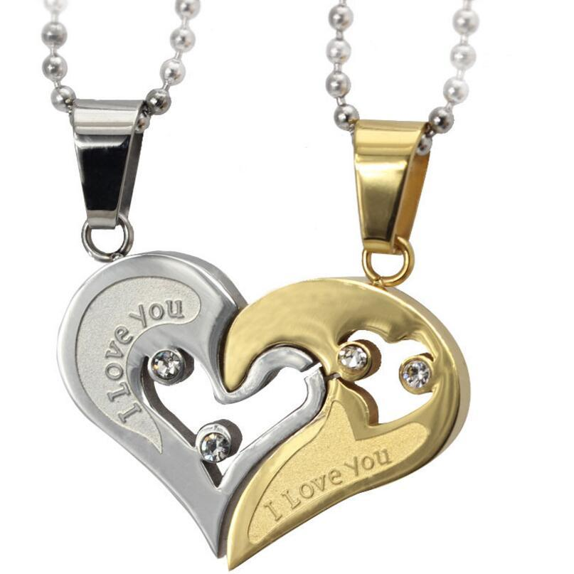 Wholesale fashion promise necklace love heart necklace pendant wholesale fashion promise necklace love heart necklace pendant wholesale stainless steel couple jewelry for men women jewelry mens necklaces silver aloadofball Choice Image