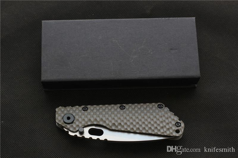 SMF knives D2 blade Carbon fiber+Titanium handle Copper washers Folding knives hunting outdoor Tactical knife EDC Tool