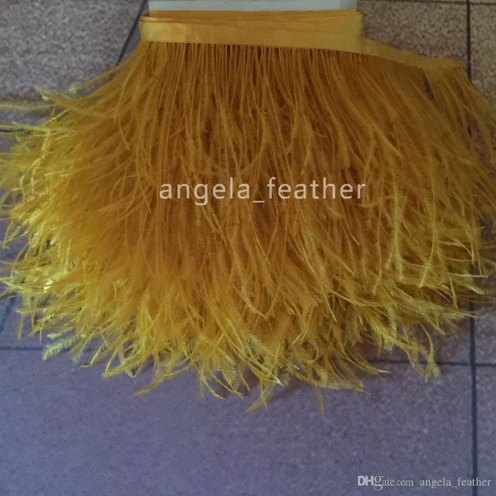 20yards5-6inch/12-15cm Gold Yellow Natural Ostrich Feather Trimming dress decoration DIY craft feather Wedding supplies