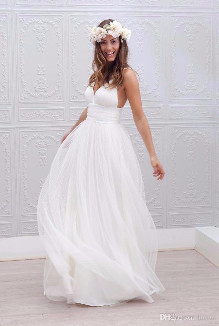 Discount Beach Wedding Dresses Spaghetti Straps Pure White Ruched