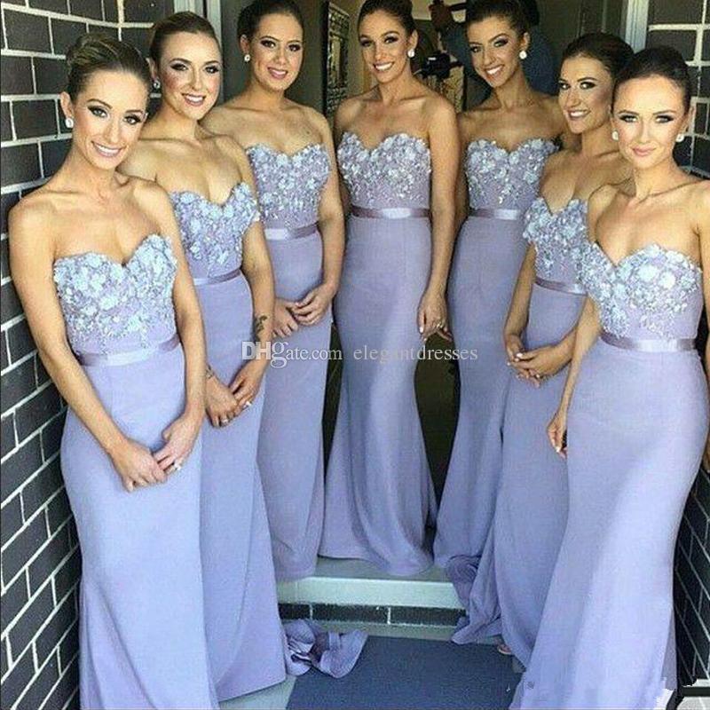 Lila vestidos de dama de honor largos 2016 sexy sirena sin espalda amor apliques moldeado piso de longitud vestidos de fiesta de baile más el tamaño