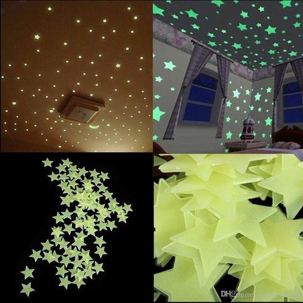New 100pcs/lot Glow Wall Stickers Decal Baby Kids Bedroom Home Decor Color Stars Luminous Fluorescent 4colors diameter 3cm