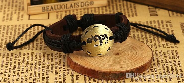 New arrival leather bracelet Mixed each Handmade Leather charm zodiac Bracelet Infinity 12 horoscope birthday gifts