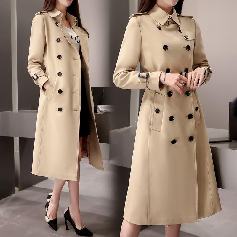 TNLNZHYN 2017 Nova Primavera Mulheres Trench Coat Médio Longo Moda Double breasted Long Coat Mulheres Blusão Fino Outwear SK274