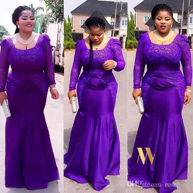 Elegant Lace African Evening Dresses 2016 Scoop Long Sleeves Mermaid ...