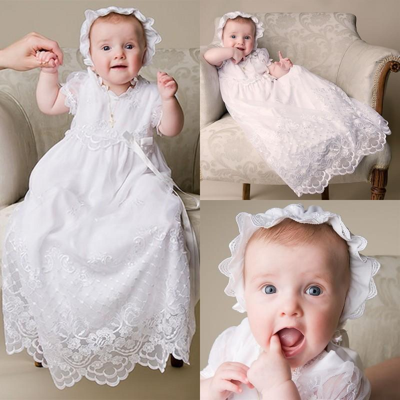 2018 Beautiful Pure White Lace Christening Dresses 2015 Short Sleeve ...