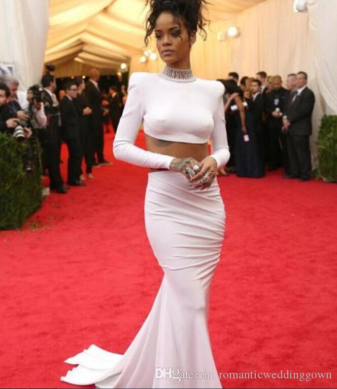 2015 Met Gala Rihanna Long Sleeve White Long Prom Dress ...