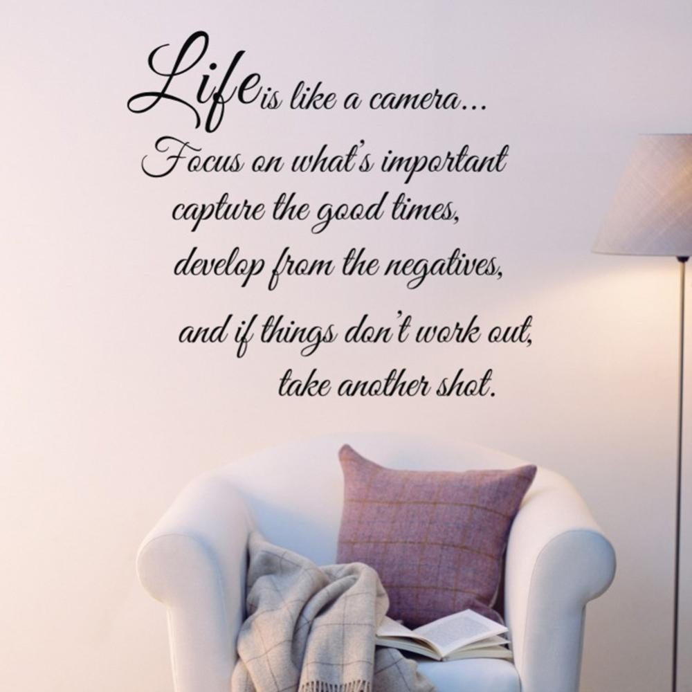 Quality life is like a camera quote words art vinyl wall sticker quality life is like a camera quote words art vinyl wall sticker decal decor hot free shipping amipublicfo Images
