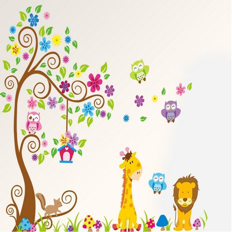 Giant Wall Decals For Babyu0027S Room Nursery Girls Or Boys Room Decoration  Forest Owls Giraffe Flower Tree Wall Art Murals Removable Wall Decals For  Kids ... Part 38