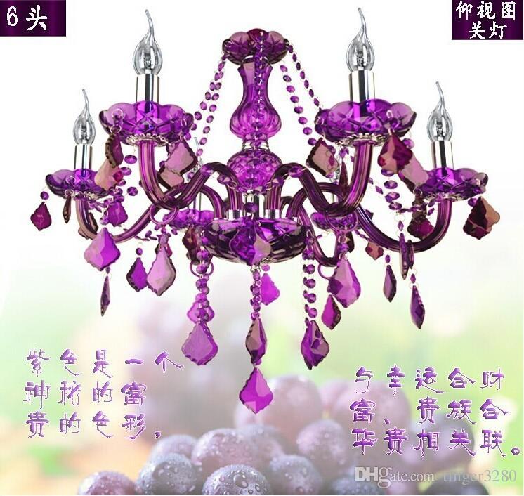 Livraison gratuite nouvelle arrivée lustre en cristal violet cristal lumière 6 bras JP8682 / 6L D550MM H500MM