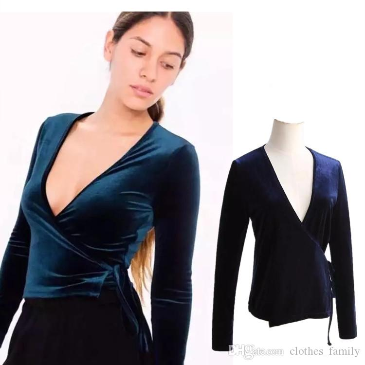 Top 2020 New High Quality Women Fashion Sexy T-Shirt Wild V Neck Ties Velvet Shawl T-shirt Casual Slim Plus Size Blouse