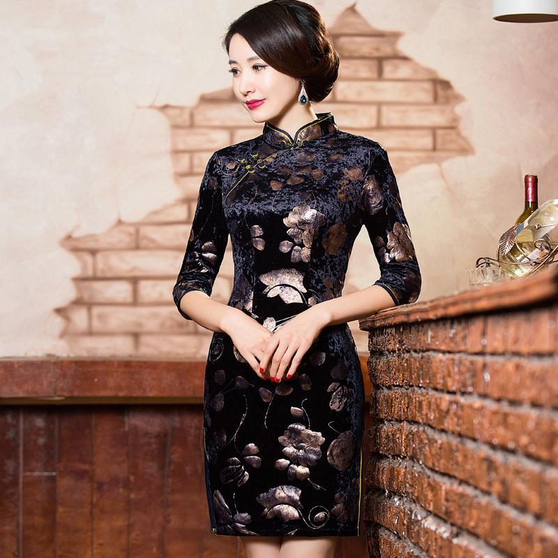 1a0f5e1a7c05c Acheter Shanghai Story Velours Qipao Robes Robe Traditionnelle Chinoise  Cheongsams Robe Vintage Cheongsam Robe Orientale Style Chinois Qipao De   25.35 Du ...