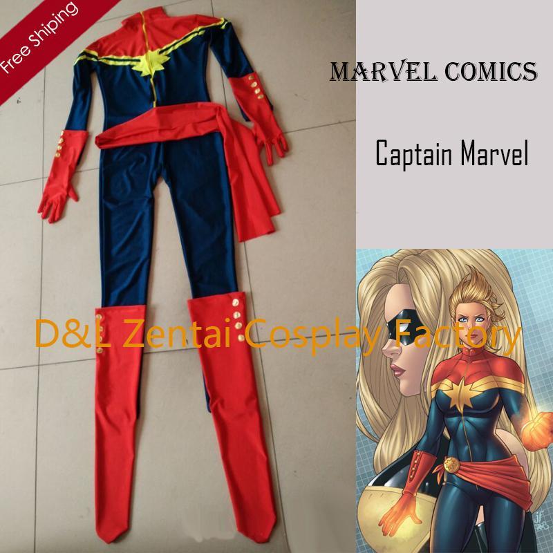 free shipping dhl ms marvel costume captain marvel karla sofen costume navy red lycra super hero halloween costume xm1726