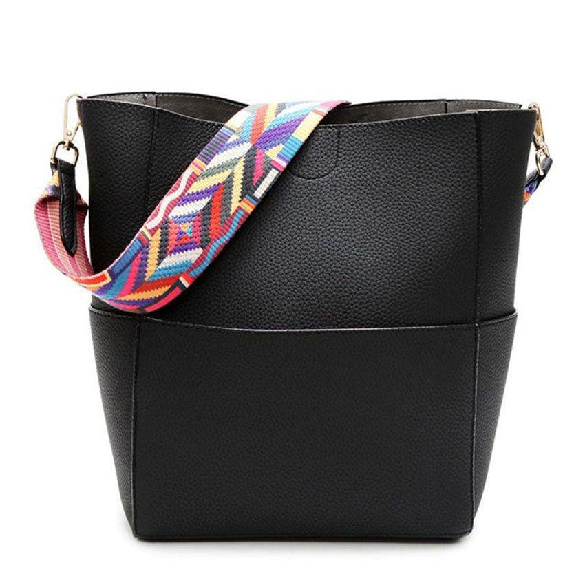 3a0a3ae045cc 2019 B037H Luxury Brand Designer Bucket Bag Women Leather Wide Color Strap  Shoulder Bag Handbag Large Capacity Crossbody Bag For Shopping Sac From ...