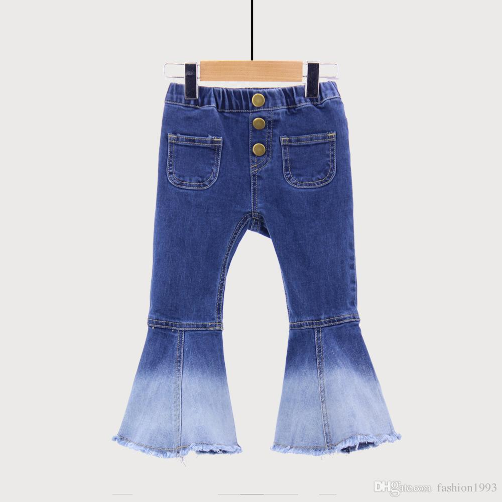2018 Spring Autumn Girls Jeans Bell-bottomed Pants Spring Children Trousers Outfits For Girls Cut Denim Pants Long Trousers Children Clothes
