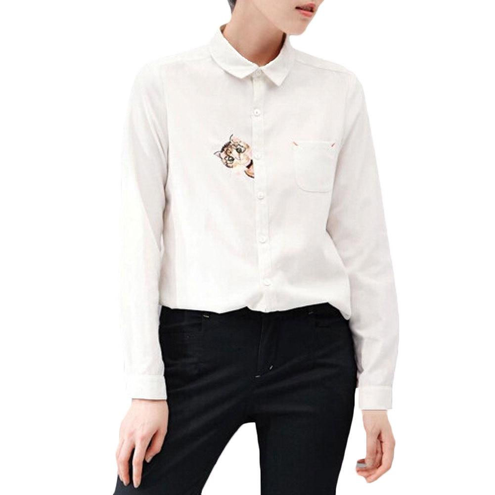 7eee14f9f 2019 2016 New Women Blouse Long Sleeved Cat Embroidered Shirts Blusas White  Shirt Blusas Femininas Turn Down Collar Chiffion Blusa From Jack16999, ...