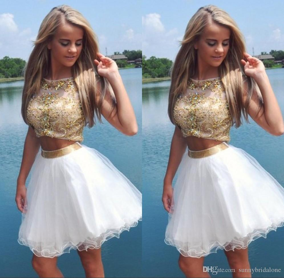 Amazing Short Prom Dresses Gold Beaded Beading Ball Gown Skirts Cap ...