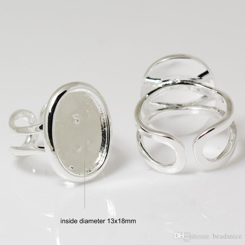 Beadsnice Ring Base Inställning Perfekt för Cabochons Ring Base Blanks Justerbar storlek för kostym smycken ID 7351
