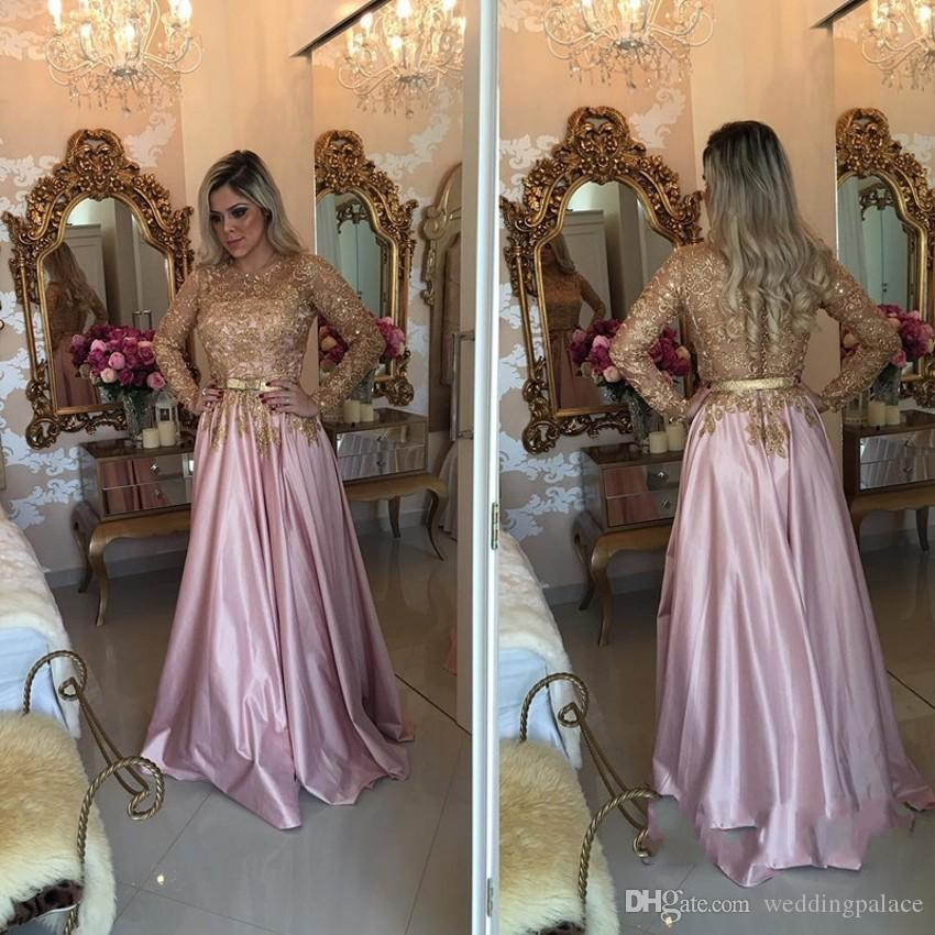 Latest Pink O-Neck Long Sleeve Evening Dresses Button Back Beaded Sweep Train Formal Evening Gowns Vestido De Noche Prom Dresses