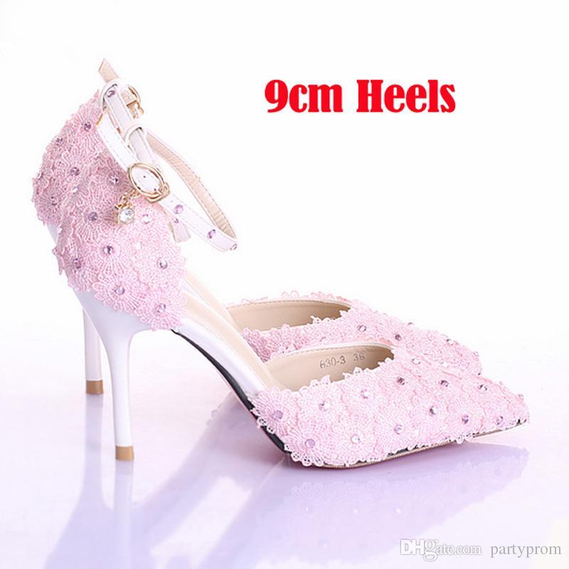 3 Inches Pink Lace Bridal Shoes Pointed Toe Women Pumps Ladies Platform Bridal Shoes Ankle Strap Stiletto Heel Bridesmaid Shoes