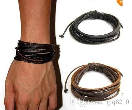 Braccialetti di cuoio genuini di alta qualità avvolgere il fascino intrecciato a più strati della corda Uomini di modo Gioielli fatti a mano delle donne nuovi