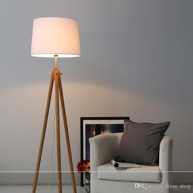 2018 Modern Nordic Wooden Floor Lamps Wood Fabric Lampshade Tripod ...