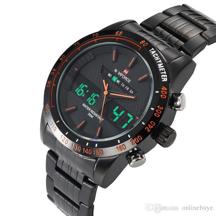 NAVIFORCE мужская мода часы полный стали мужские кварцевые часы аналоговые цифровые светодиодные часы спортивные военные наручные часы Drop доставка