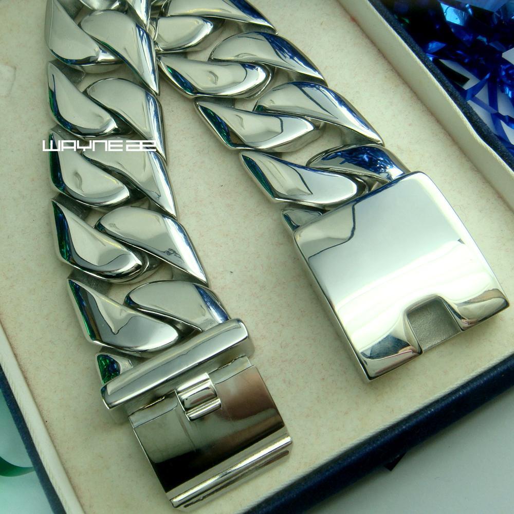 B156- Shining roestvrij staal 316 Cubaanse link heren armband 158G 24 mm breedte