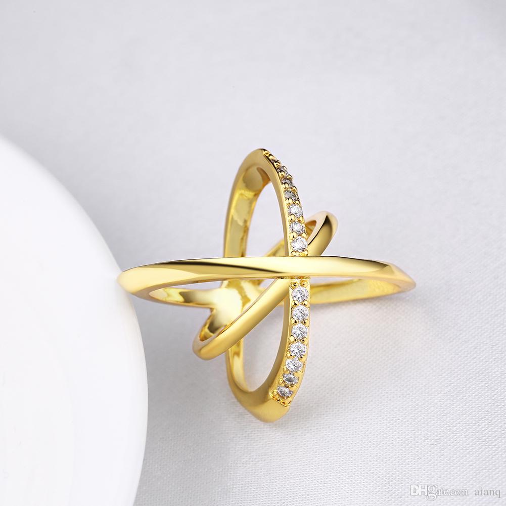 2018 Personality Design Women Cross Rings Gold / Silver Crystal ...