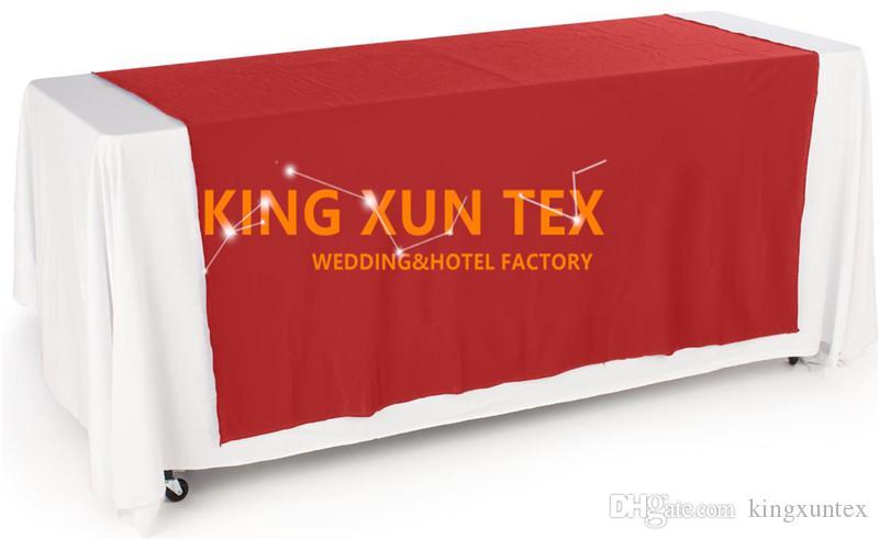 6FT weiße Farbrechteckige Polyester-Tischdecke mit Spitzentischläufer für Hochzeits- und Ereignisdekoration