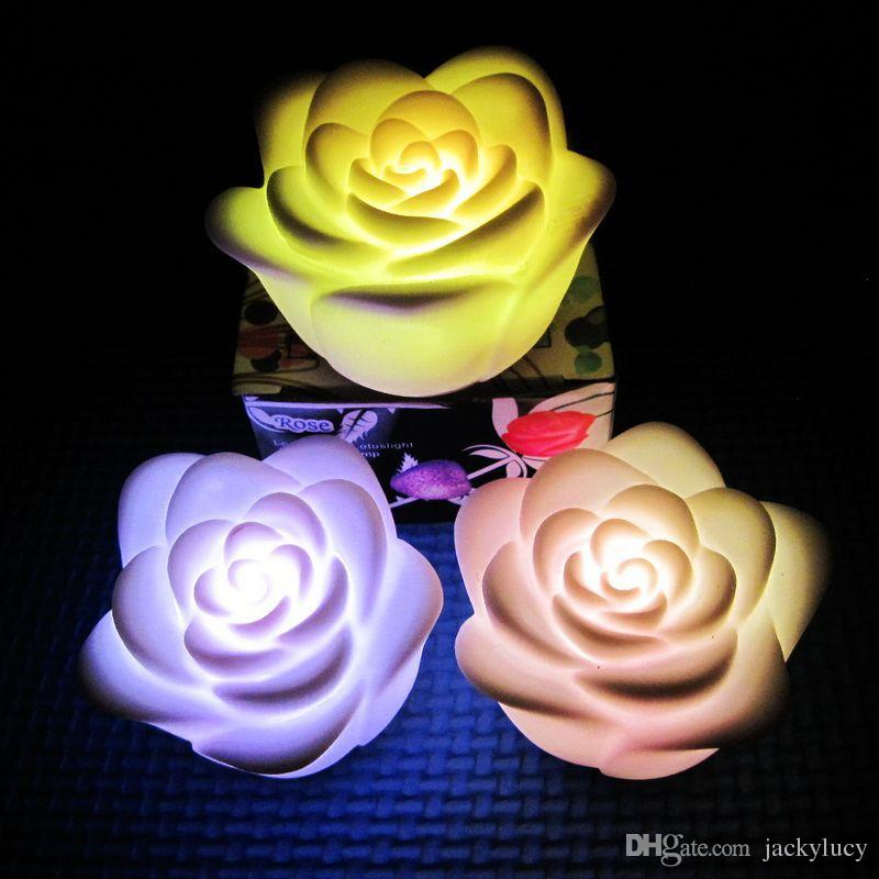 رومانسية ملون روز زهرة أضواء الليل الصمام شمعة زهرة مصباح لحفل زفاف عيد الميلاد هدية عيد إمدادات الطرف الديكور