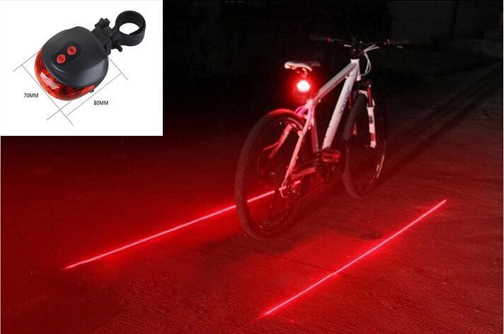 2 Laser 5 LED Lamp Rear Cycling Bicycle Bike Tail Safety Warning Flash Light