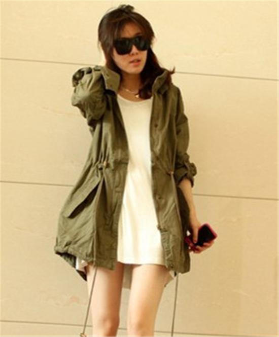 Women Jacket HOODED Winter Coat New Womens Hoodie Drawstring Army Green Military Trench Parka Jacket Coat Hot Lady Adjustable and Slim Coat