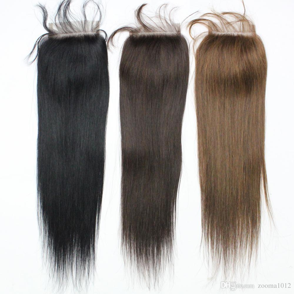 7A Color #1b Black Brazilian Straight Baby Hair Top Lace Closure 3 part 1B 4X4 Peruvian Virgin Top Lace Closures Hair Cheap Human Hair